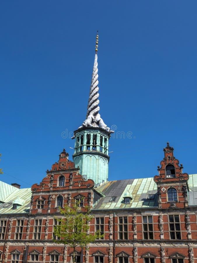 Bâtiment historique de bourse des valeurs, Copenhague, Danemark, Scandinav photographie stock