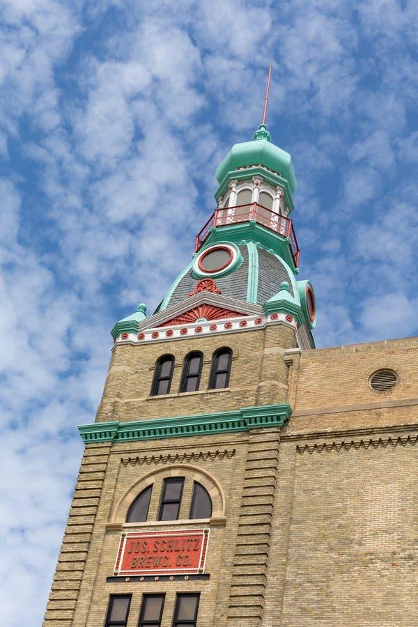 Bâtiment historique de brassage de Schlitz à Milwaukee photographie stock libre de droits