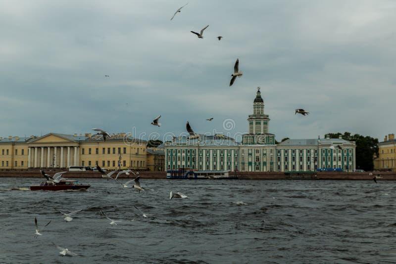 Bâtiment historique sur le remblai de Neva, St Petersburg, Russ photo stock
