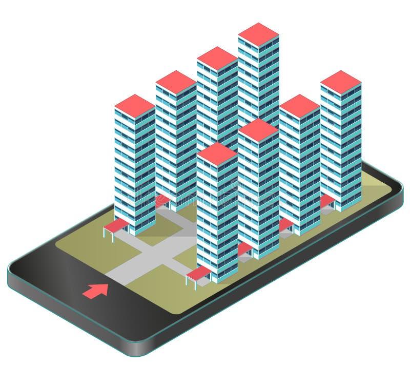 Bâtiment isométrique d'appartement dans un gratte-ciel dans le téléphone portable Projet d'ensemble immobilier privé, complexe mo illustration stock