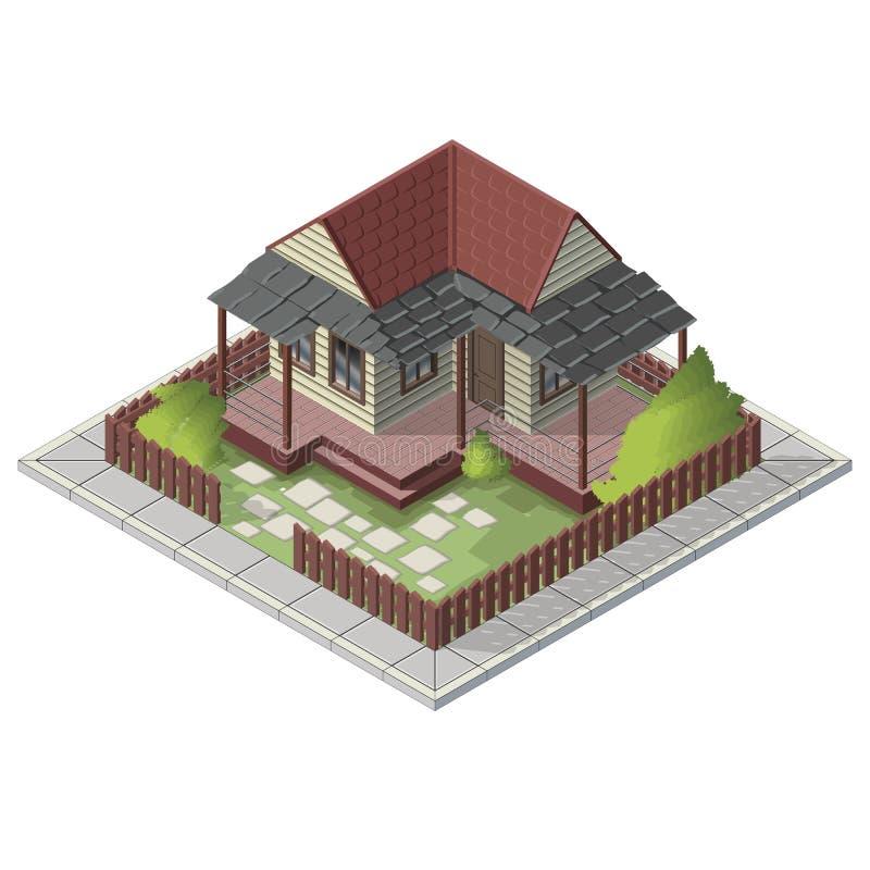 Bâtiment isométrique d'arrière-cour de maison d'été de vecteur illustration libre de droits