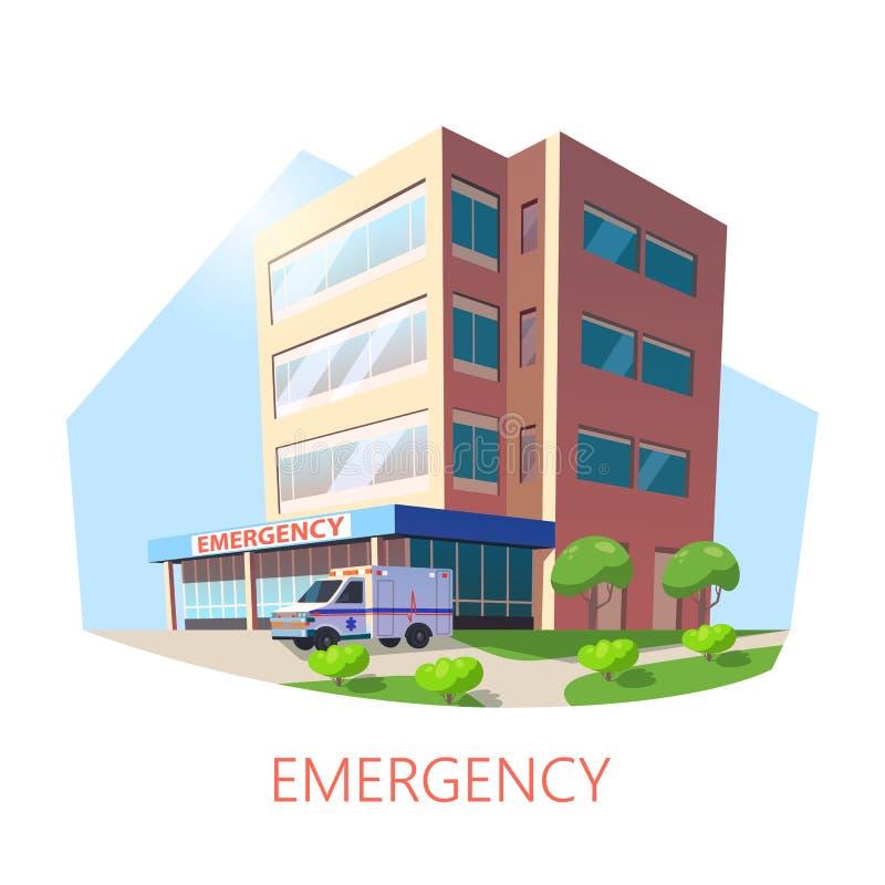 Bâtiment isométrique d'hôpital avec l'ambulance illustration de vecteur