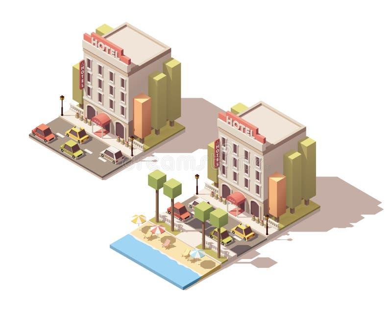 Bâtiment isométrique d'hôtel de vecteur illustration stock