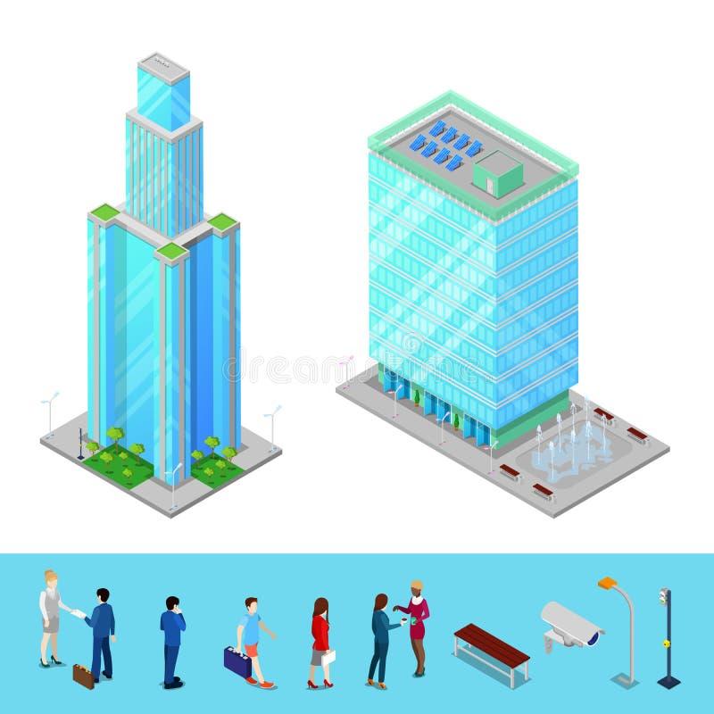 Download Bâtiment Isométrique De Bureau Municipal De Gratte-ciel Avec Des Gens D'affaires Illustration de Vecteur - Illustration du fond, positionnement: 76086970