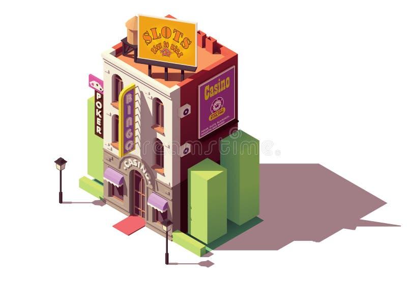 Bâtiment isométrique de casino de vecteur illustration de vecteur