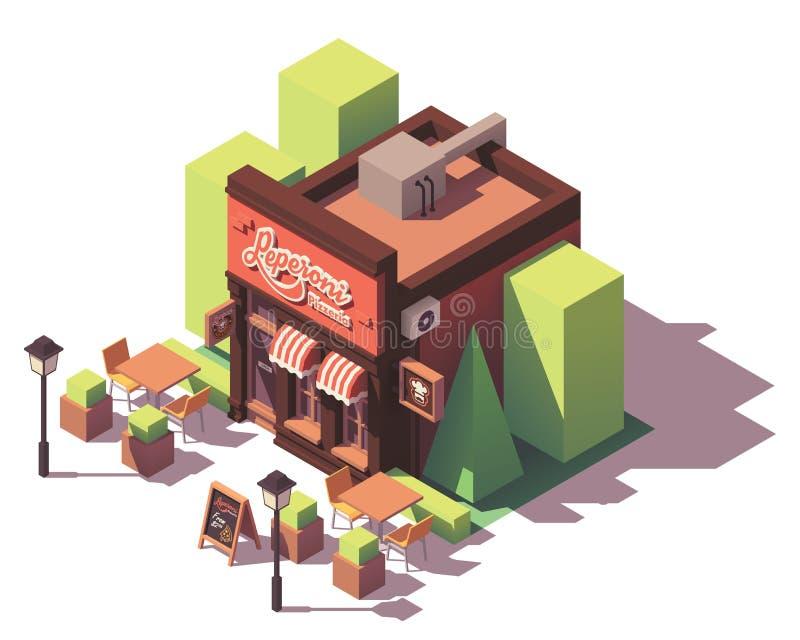 Bâtiment isométrique de pizzeria de vecteur illustration stock