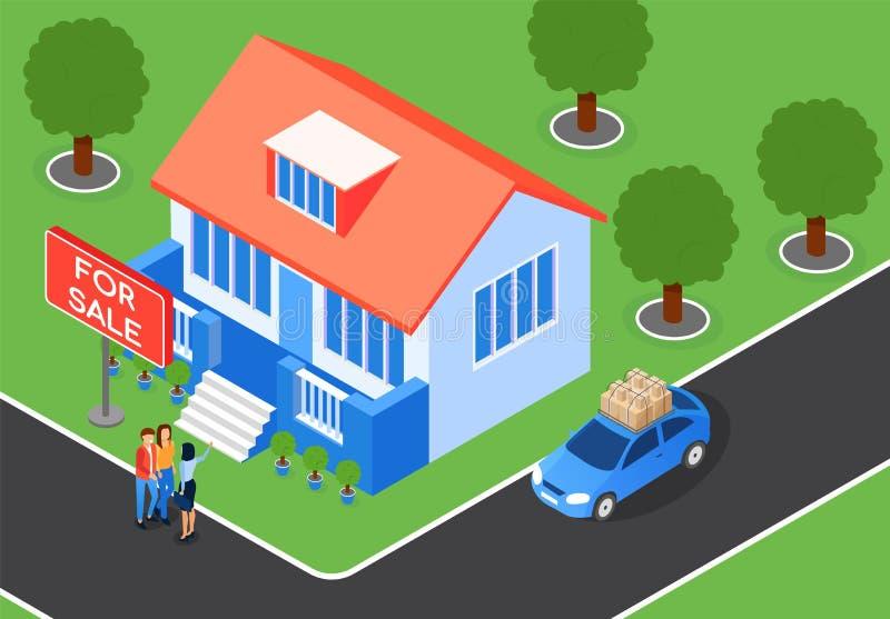 B?timent isom?trique de vecteur de Chambre urbaine de Real Estate illustration de vecteur