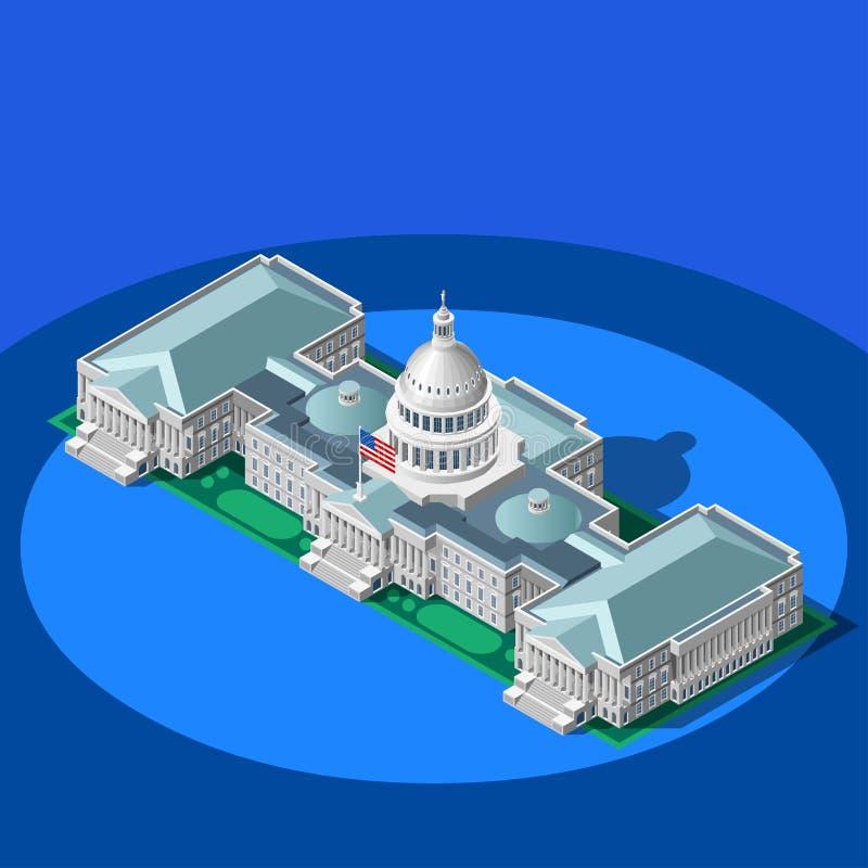 Bâtiment isométrique de vecteur de dôme de capitol d'Infographic d'élection illustration stock