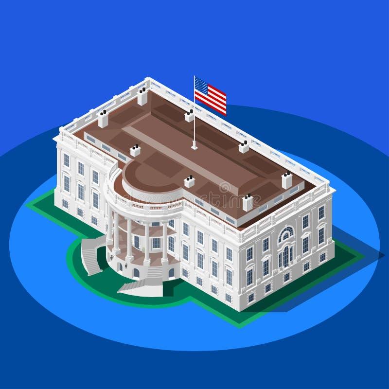 Bâtiment isométrique de vecteur de la Maison Blanche d'Infographic d'élection illustration de vecteur