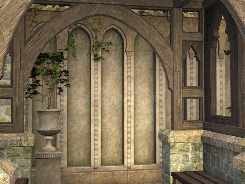 Bâtiment médiéval de pavillon d'arcade rendu dans 3D illustration stock