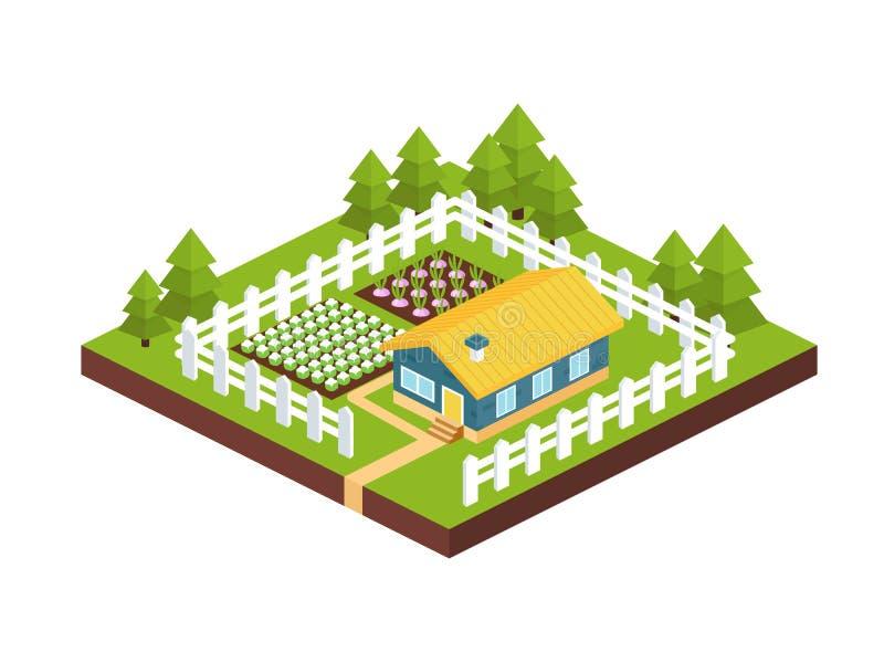 Bâtiment, maison de jardin de pays avec le complot de ferme entouré par la barrière illustration libre de droits