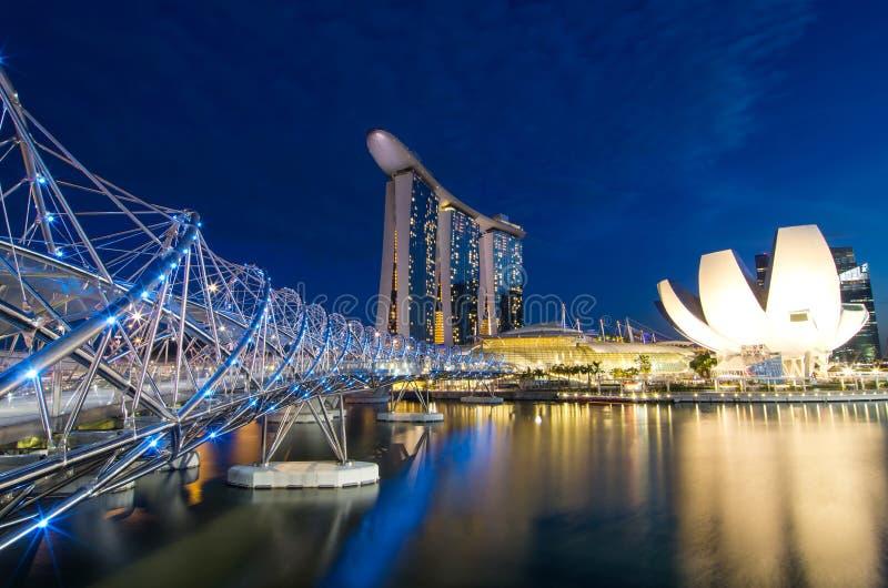 Bâtiment moderne de paysage urbain de Singapour autour de Marina Bay image stock