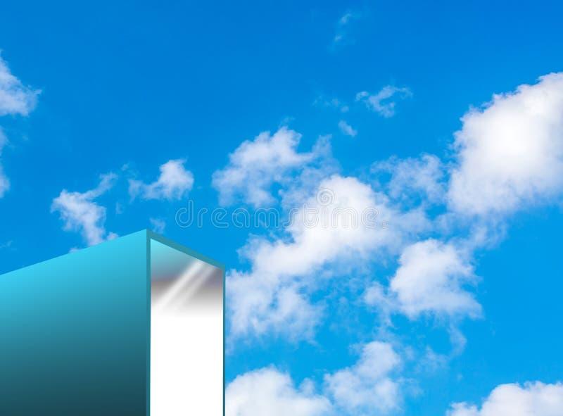 Bâtiment moderne de turquoise avec le ciel illustration de vecteur