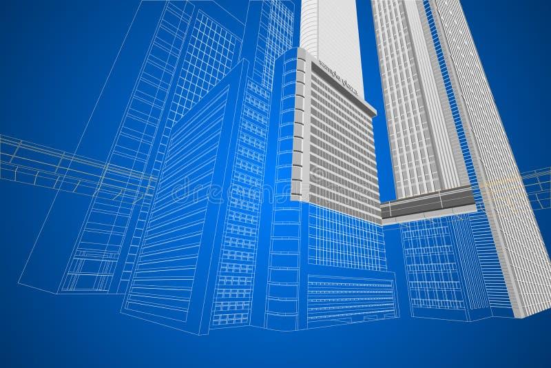 Bâtiment moderne de wireframe dimensionnel photo libre de droits
