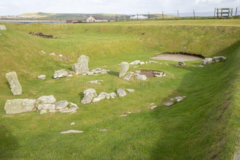 Bâtiment néolithique ou dattier, Jarlshof, Écosse photos stock
