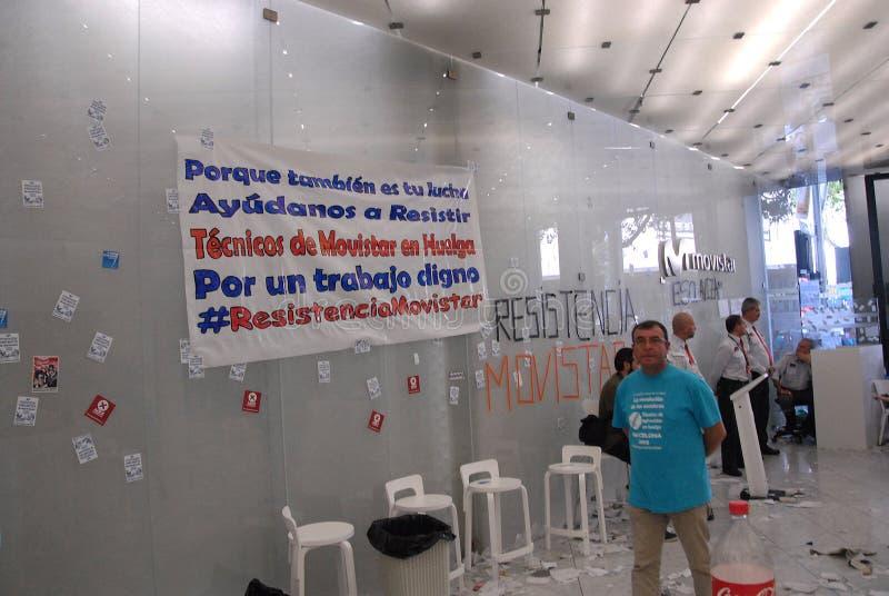 BÂTIMENT OCCUPÉ PAR MOVISTARS DE TELEFONIC image libre de droits
