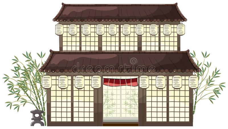 Bâtiment oriental avec les lanternes et le bambou illustration stock