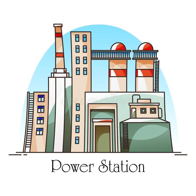 Bâtiment ou usine de centrale thermique pour l'électricité illustration de vecteur