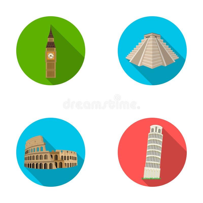 Bâtiment, point de repère, pont, pierre Les icônes réglées de collection de pays de pays dans le style plat dirigent l'illustrati illustration de vecteur