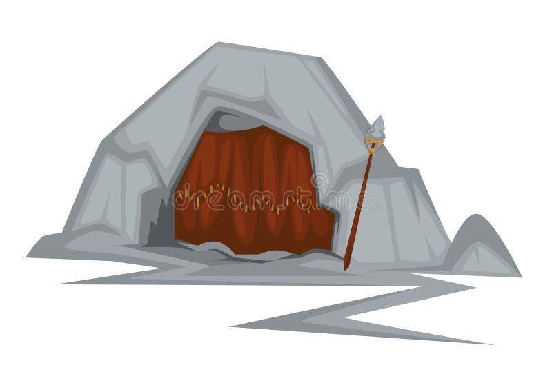 Bâtiment préhistorique de demeure de personnes primitives de caverne d'âge de pierre illustration de vecteur