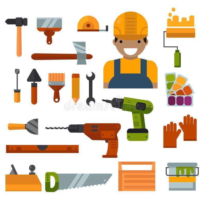 Bâtiment, réparation à la maison et vecteur d'outils de travaux de décoration illustration stock
