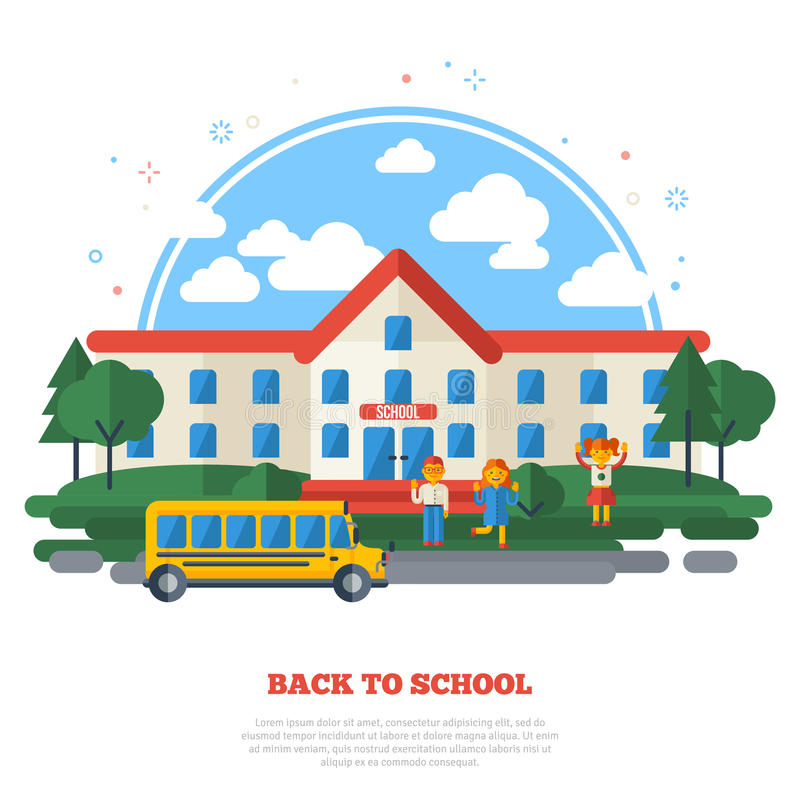 Bâtiment scolaire, autobus jaune et enfants drôles illustration stock