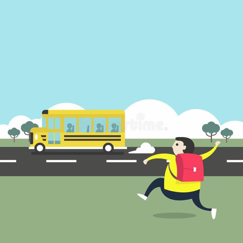 Bâtiment scolaire pour de nouveau à la bannière d'école Un garçon courant après un autobus scolaire illustration stock