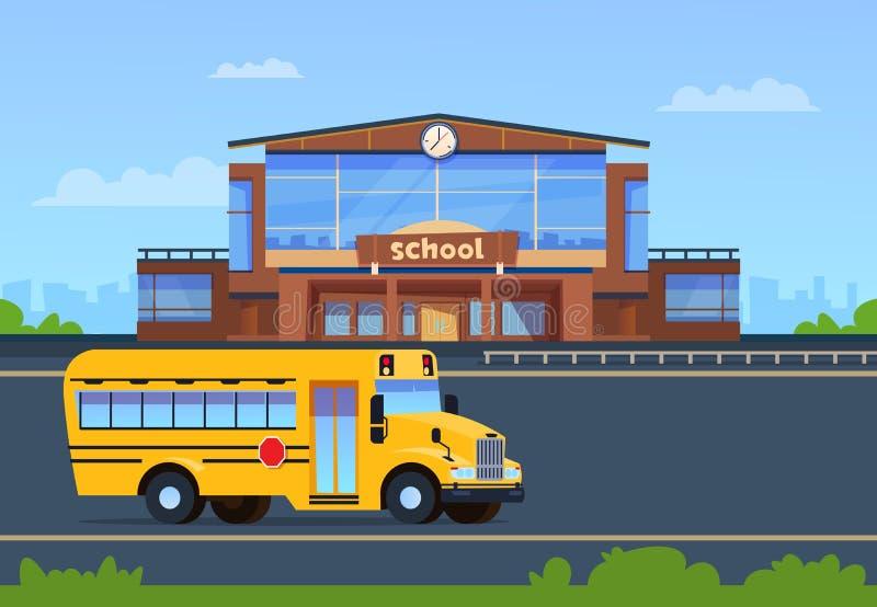 Bâtiment scolaire Université extérieure avec l'autobus jaune Fond d'éducation Concept de vecteur d'école primaire illustration stock