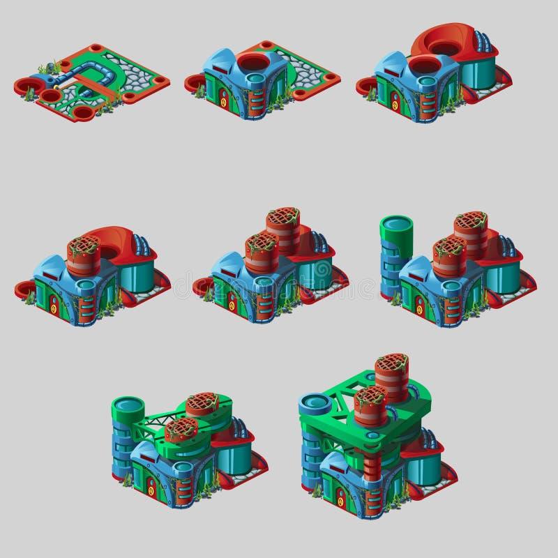 Bâtiment sous-marin peu commun avec des cylindres d'air illustration libre de droits
