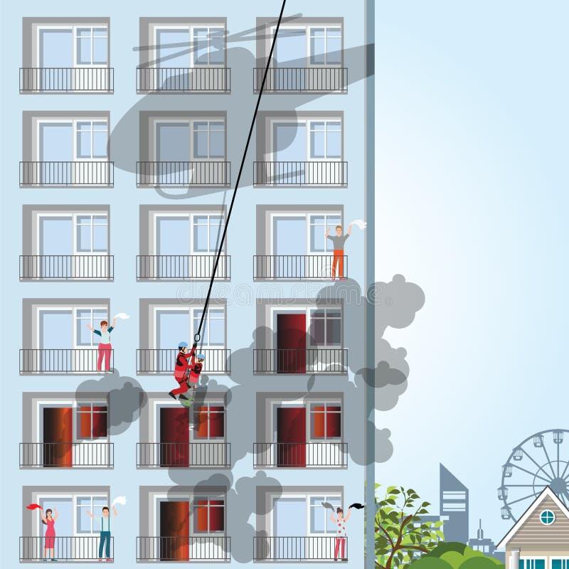 Bâtiment sur le feu avec la victime sur l'appartement illustration de vecteur