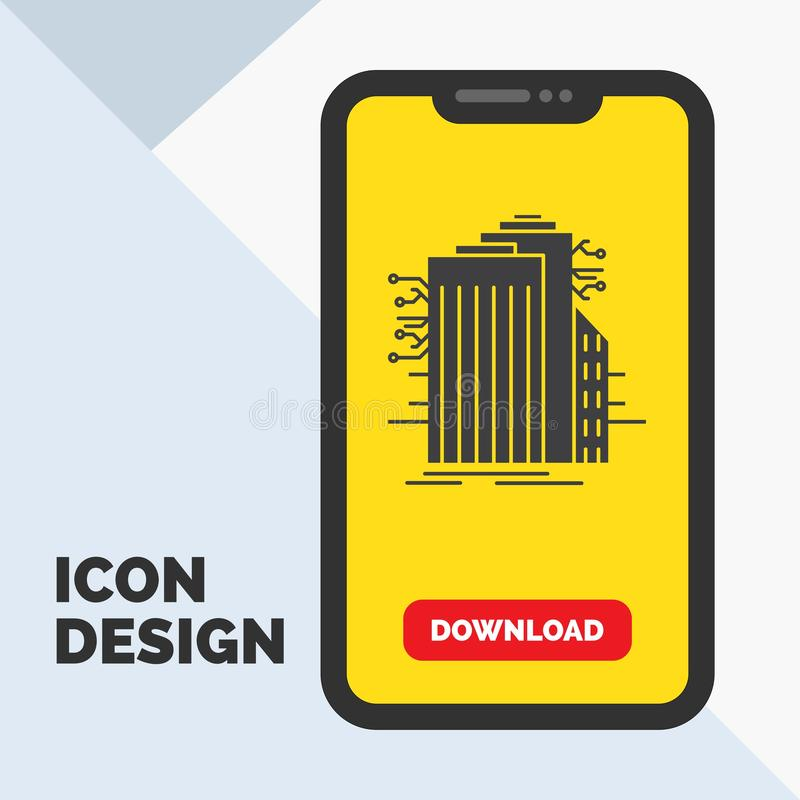 Bâtiment, technologie, Smart City, relié, icône de Glyph d'Internet dans le mobile pour la page de téléchargement Fond jaune illustration de vecteur