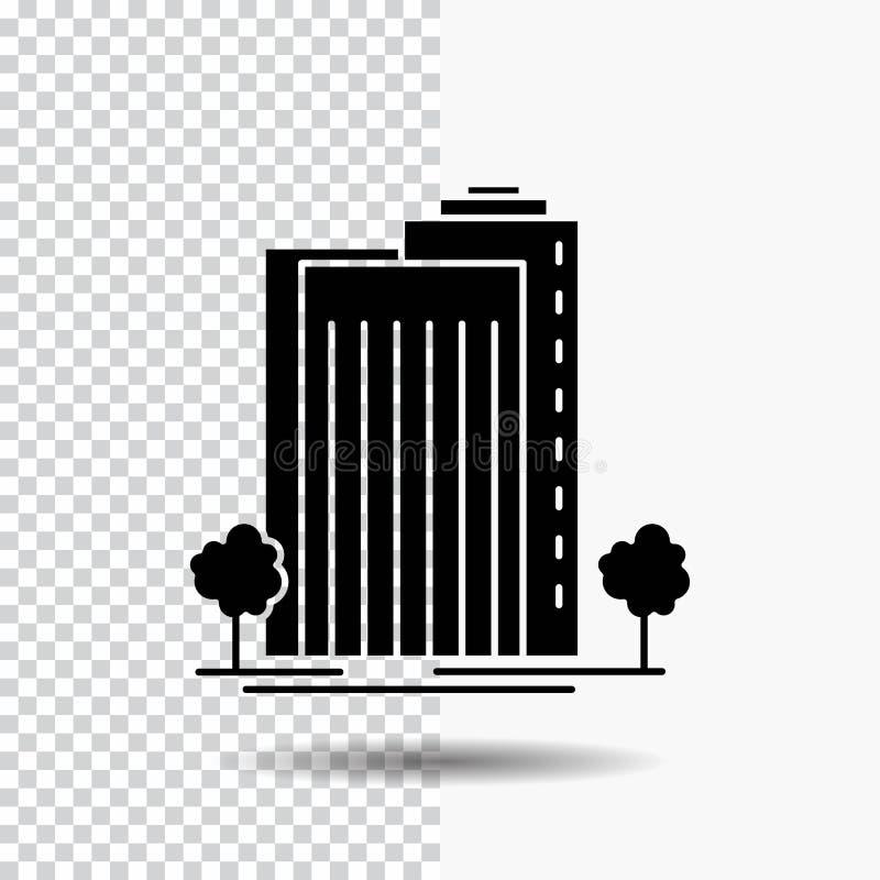 Bâtiment, vert, usine, ville, icône futée de Glyph sur le fond transparent Ic?ne noire illustration libre de droits