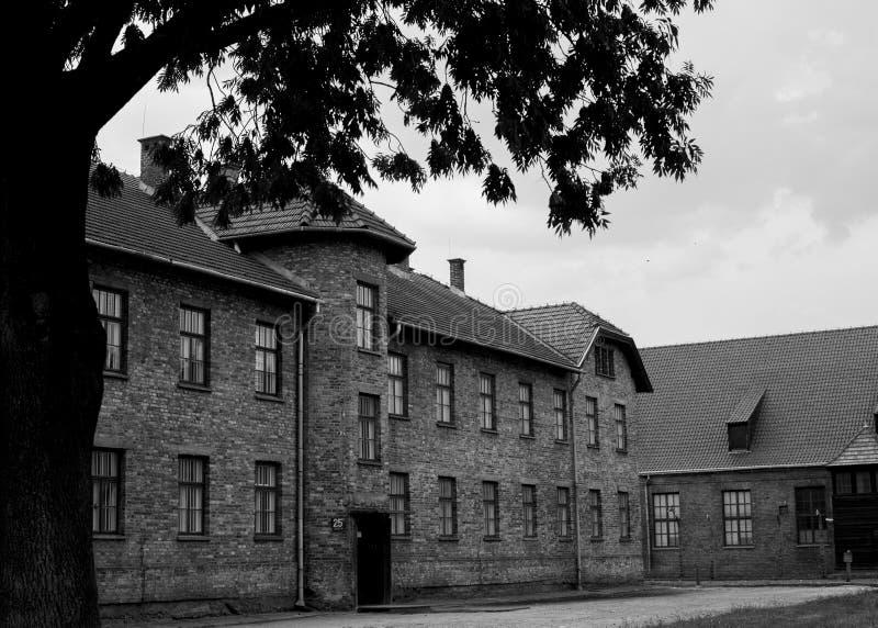 Bâtiments à Auschwitz images libres de droits