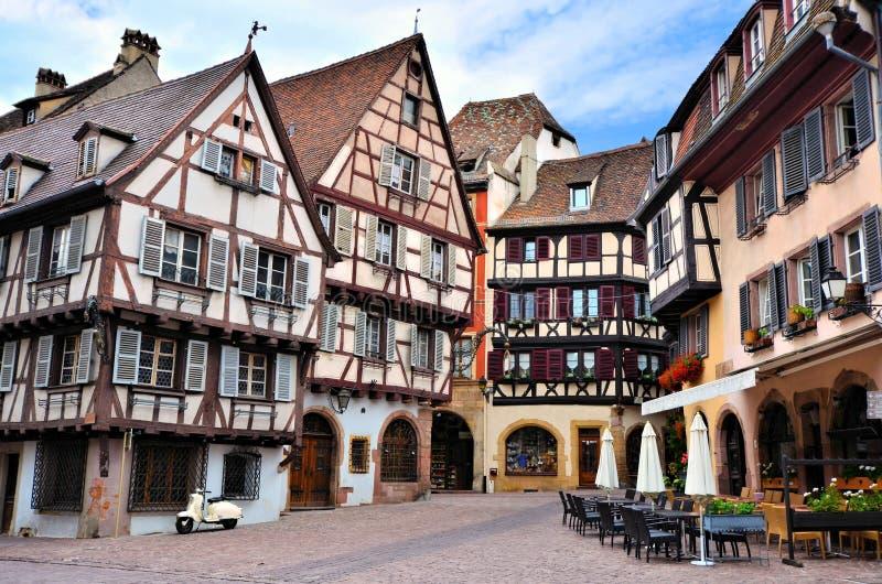Bâtiments à colombage pittoresques Colmar, France image libre de droits