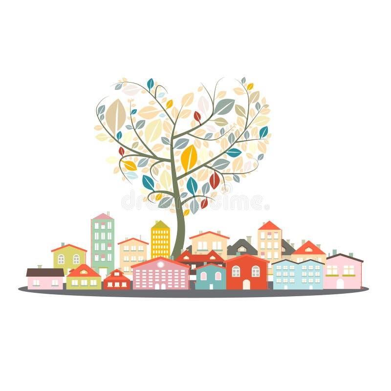 Bâtiments abstraits de vecteur - ville ou ville avec l'arbre en forme de coeur illustration libre de droits