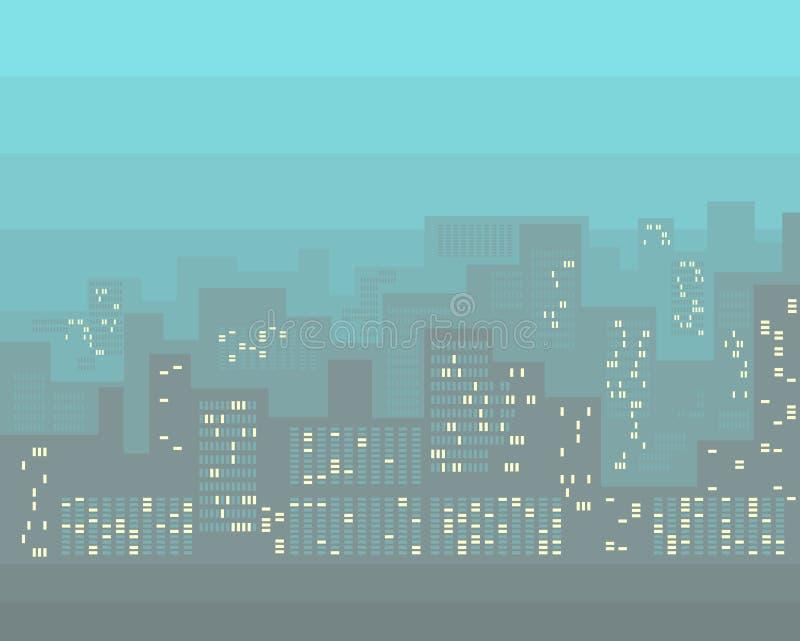 Bâtiments abstraits de ville avec les fenêtres allumées Horizontal urbain Fond moderne de paysage urbain illustration libre de droits