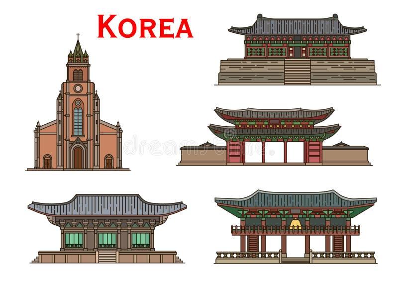 Bâtiments antiques de points de repère coréens de voyage illustration libre de droits
