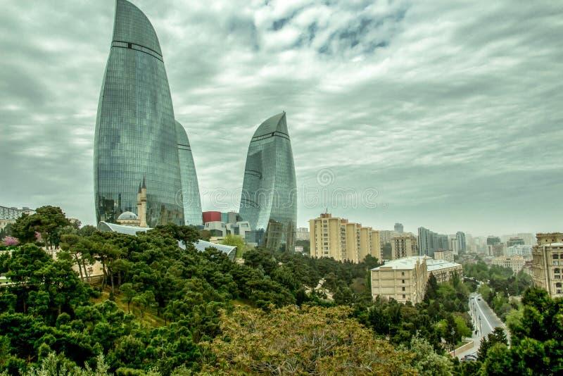 Bâtiments au centre de la ville de Bakou - l'Azerbaïdjan image libre de droits
