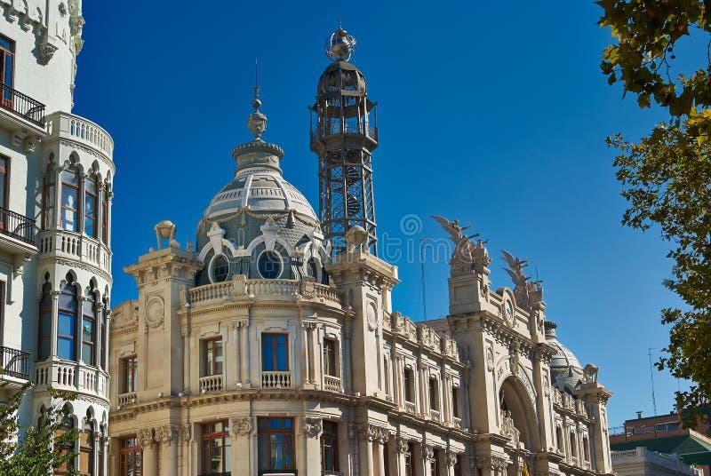 Bâtiments avec des avants de dentelle de ville Valence Espagne images stock
