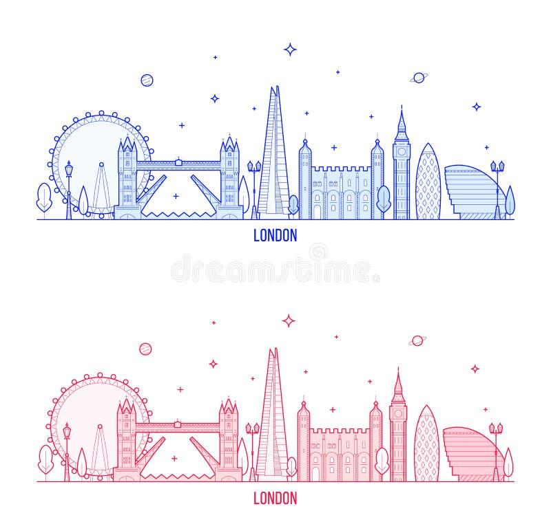 Bâtiments BRITANNIQUES de ville de vecteur de l'Angleterre d'horizon de Londres illustration de vecteur