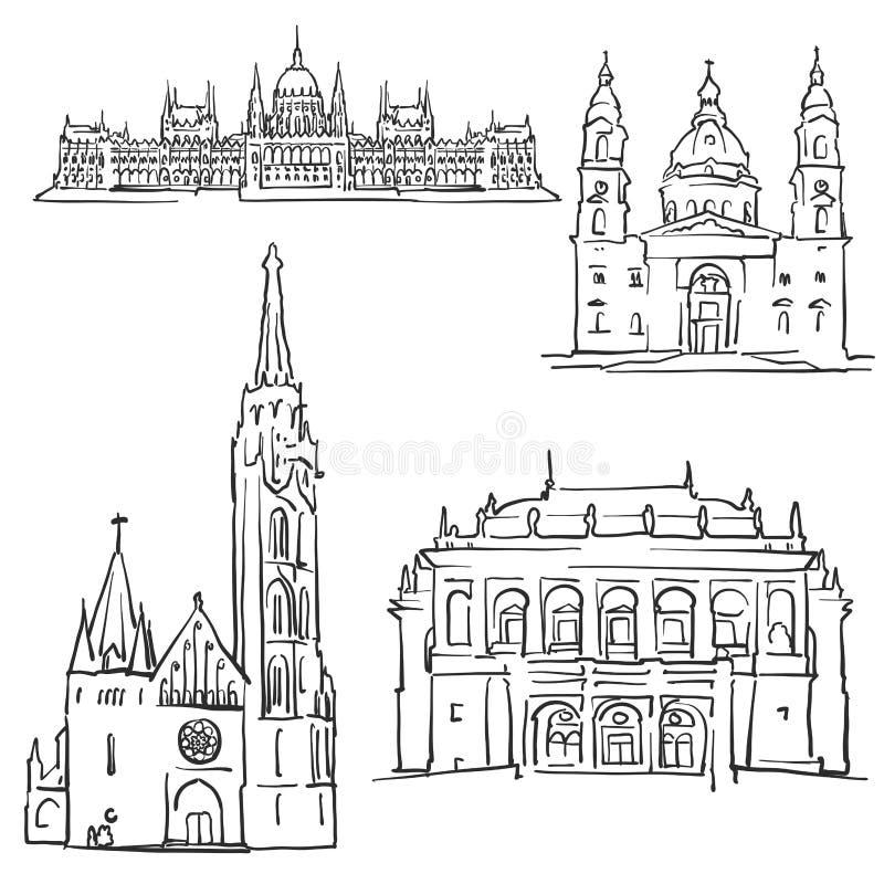 Bâtiments célèbres de Budapest Hongrie illustration libre de droits