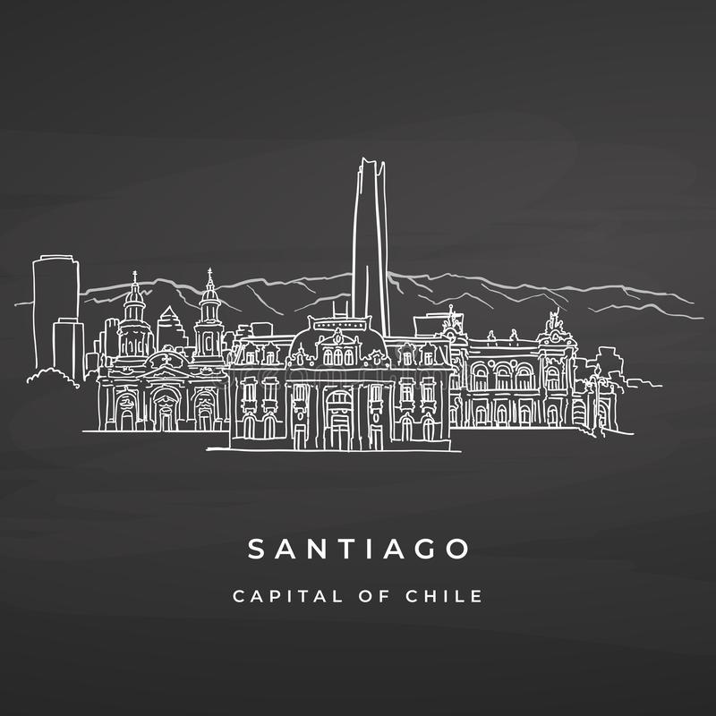 Bâtiments célèbres de Santiago Chile dessinant sur le tableau noir illustration de vecteur