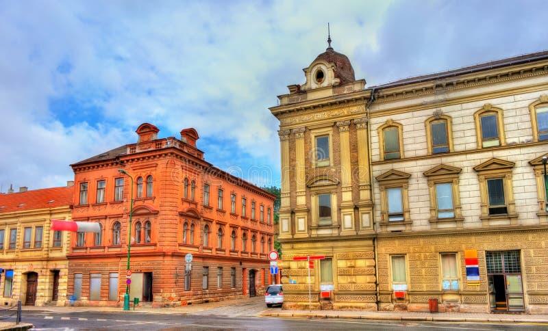 Bâtiments dans la vieille ville de Trebic, République Tchèque photos libres de droits