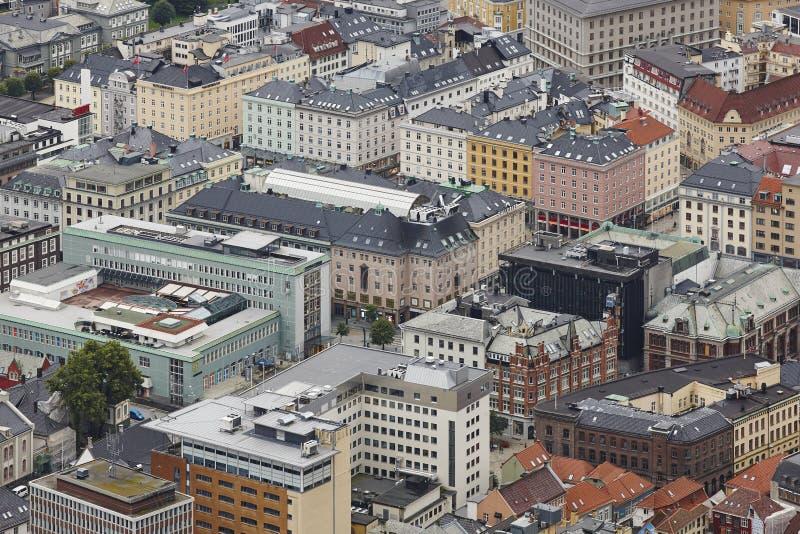 Bâtiments de classique de centre de la ville de Bergen Point de vue de Floyen de bâti Non photo stock