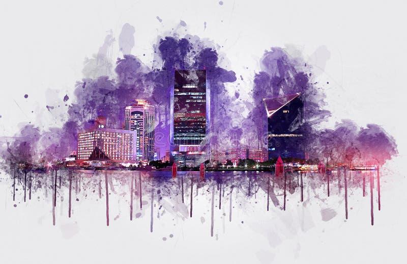 Bâtiments de Dubai Creek - peinture numérique, Émirats arabes unis images stock