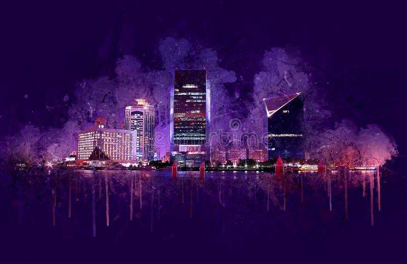 Bâtiments de Dubai Creek - peinture numérique, Émirats arabes unis photographie stock libre de droits