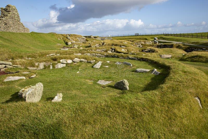 Bâtiments de l'âge du fer Jarlshof, Shetland photographie stock