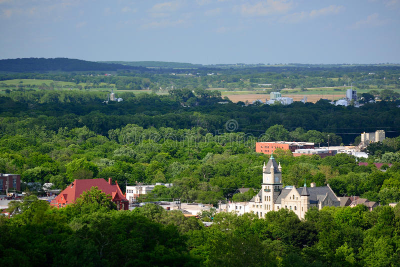 Bâtiments de Lawrence du centre en Douglas County, le Kansas images libres de droits