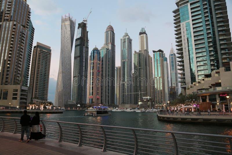 Bâtiments de marina de Dubaï, Emirats Arabes Unis photos libres de droits