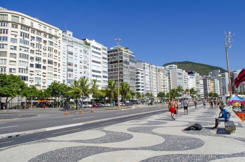 Bâtiments de plage de Copacabana photographie stock libre de droits